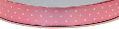 Licht roze dubbelzijdig satijnband met witte stippen 15 mm (ca. 30 m)