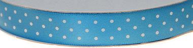 Licht blauw dubbelzijdig satijnband met witte stippen 15 mm (ca. 30 m)