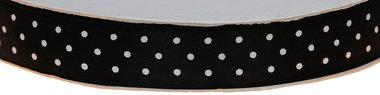 Zwart dubbelzijdig satijnband met witte stippen 15 mm (ca. 30 m)