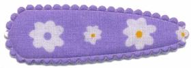 Haarkniphoesje lila met witte bloemetjes 5 cm (ca. 100 stuks)