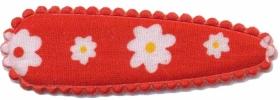 Haarkniphoesje rood met witte bloemetjes 5 cm (ca. 20 stuks)