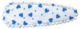 Haarkniphoesje wit met licht blauwe hartjes 5 cm (ca. 20 stuks)