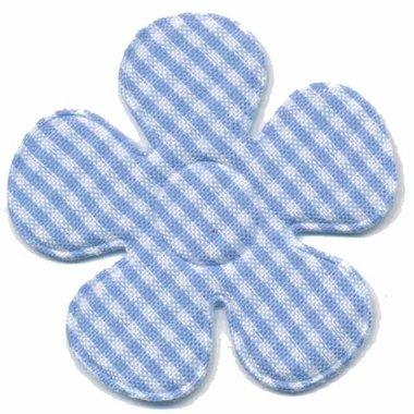 Applicatie ruitjes bloem licht blauw groot 45 mm (ca. 100 stuks)