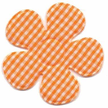 Applicatie ruitjes bloem oranje groot 45 mm (ca. 25 stuks)