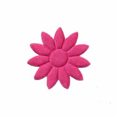 Applicatie bloem effen satijn fuchsia met puntige blaadjes klein 25 mm (ca. 25 stuks)