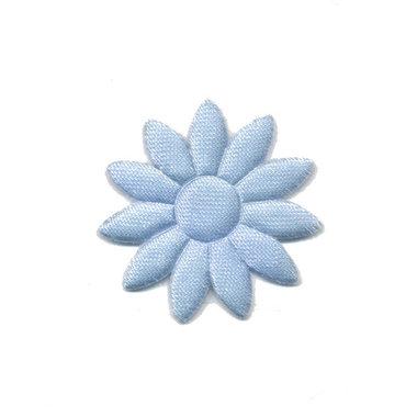 Applicatie bloem effen satijn licht blauw met puntige blaadjes klein 25 mm (ca. 25 stuks)