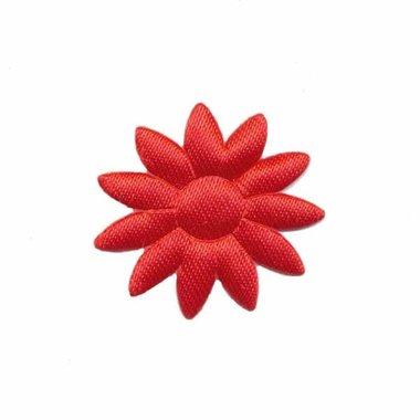 Applicatie bloem effen satijn rood met puntige blaadjes klein 25 mm (ca. 25 stuks)