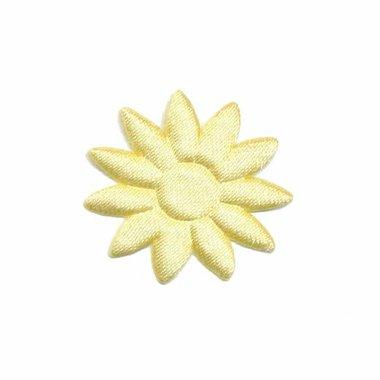 Applicatie bloem effen satijn geel met puntige blaadjes klein 25 mm (ca. 25 stuks)