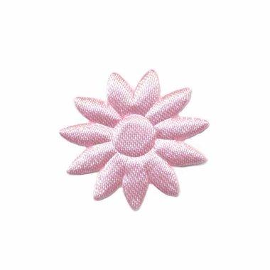 Applicatie bloem effen satijn roze met puntige blaadjes klein 25 mm (ca. 25 stuks)