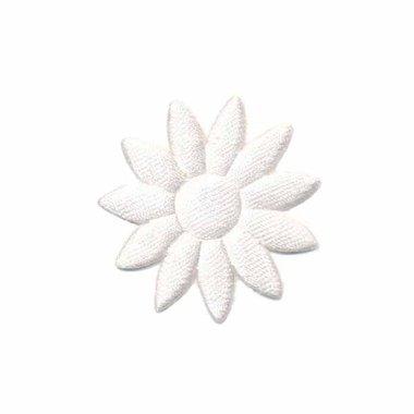 Applicatie bloem effen satijn wit met puntige blaadjes klein 25 mm (ca. 100 stuks)