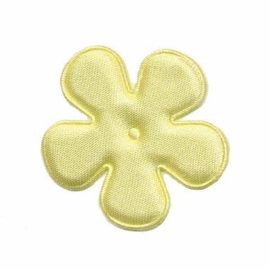 Applicatie bloem zacht geel satijn effen middel 35 mm (ca. 25 stuks)