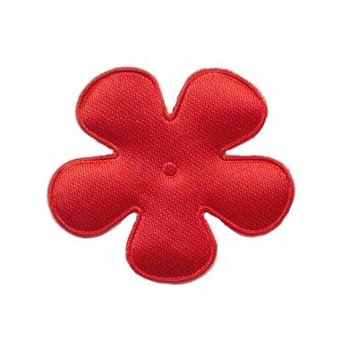 Applicatie bloem rood satijn effen middel 35 mm (ca. 25 stuks)