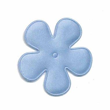 Applicatie bloem licht blauw satijn effen middel 35 mm (ca. 25 stuks)