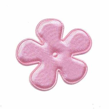 Applicatie bloem lichtroze satijn effen middel 35 mm (ca. 25 stuks)