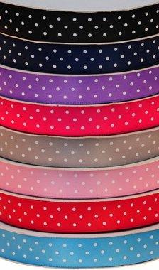 Set: 8 kleuren 15 mm satijnband met witte stippen (ca. 240 m)