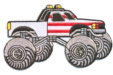 Opstrijkbare applicatie Monster truck wit (5 stuks)