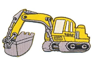 Opstrijkbare applicatie graafmachine geel (5 stuks)