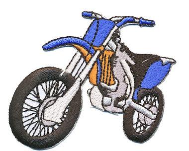 Opstrijkbare applicatie crossmotor blauw (5 stuks)