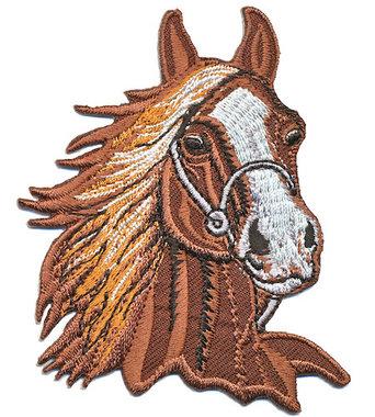 Opstrijkbare applicatie paardenhoofd bruin (5 stuks)