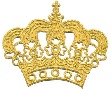 Opstrijkbare applicatie gouden kroon (5 stuks)