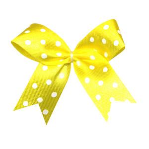 Satijnen strik geel met witte stip 40x45 mm (ca. 100 stuks)