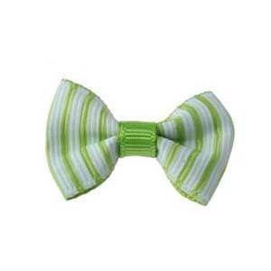 Strikje grosgrain streepje wit-groen (10 stuks)