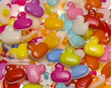 Kinderknoopje eendje MIX kleuren ca. 14x13 mm (ca. 200 stuks)
