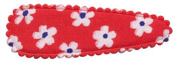Haarkniphoesje rood met bloem 5 cm (ca. 20 stuks)