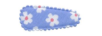 Haarkniphoesje licht blauw met bloem 3 cm (ca. 20 stuks)