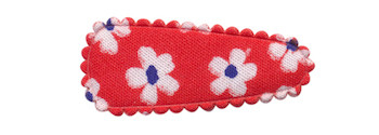 Haarkniphoesje rood met bloem 3 cm (ca. 20 stuks)