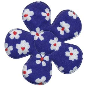 Applicatie bloem kobalt blauw met bloem katoen groot 45 mm (ca. 100 stuks)