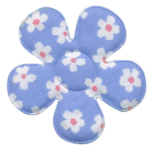 Applicatie bloem licht blauw met bloem katoen groot 45 mm (ca. 100 stuks)