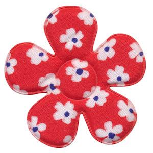 Applicatie bloem rood met bloem katoen groot 45 mm (ca. 100 stuks)