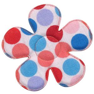 Applicatie bloem wit met multicolor stippen blauw-meloen-rood katoen groot 45 mm (ca. 100 stuks)
