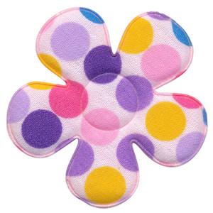 Applicatie bloem wit met multicolor stippen roze-lila-geel groot 45 mm (ca. 25 stuks)