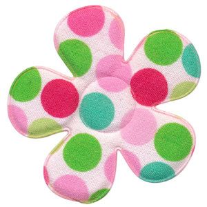 Applicatie bloem wit met multicolor stippen mint-roze-groen groot 45 mm (ca. 100 stuks)