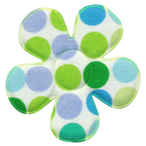 Applicatie bloem wit met multicolor stippen groen-blauw groot 45 mm (ca. 100 stuks)