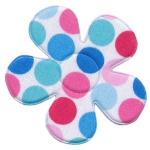 Applicatie bloem wit met multicolor stippen aqua-blauw-roze katoen groot 45 mm (ca. 25 stuks)