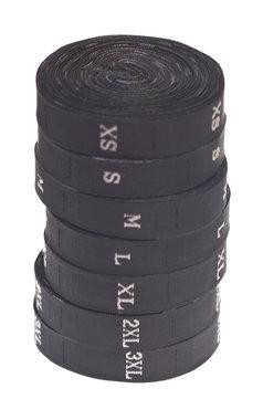 SET Maatlabels zwart - XS t/m 3XL (7 x 300 stuks)
