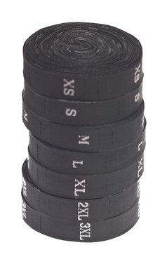 Maatlabels zwart - maat 3XL (ca. 300 stuks)