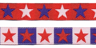 Rood sierband met blauwe en witte sterren 2-zijdig 12 mm (ca. 22 m)