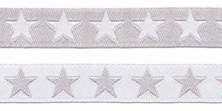 Grijs sierband met witte sterren 2-zijdig 12 mm (ca. 22 m)