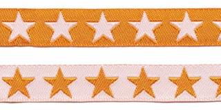 Oranje sierband met witte sterren 2-zijdig 12 mm (ca. 22 m)