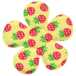Applicatie bloem geel met aardbeien print katoen groot 45 mm (ca. 100 stuks)