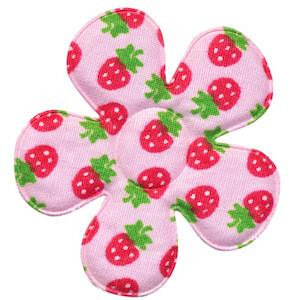 Applicatie bloem roze met aardbeien print katoen groot 45 mm (ca. 100 stuks)