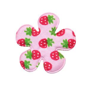 Applicatie bloem roze met aardbeien print katoen middel 35 mm (ca. 100 stuks)