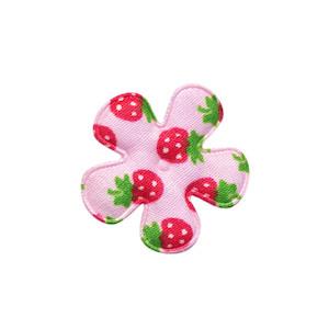 Applicatie bloem roze met aardbeien print katoen klein 25 mm (ca. 100 stuks)