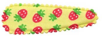 Haarkniphoesje geel met aardbeien print 5 cm (ca. 20 stuks)