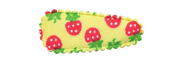 Haarkniphoesje geel met aardbeien print 3 cm (ca. 100 stuks)