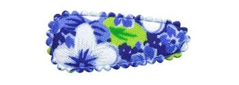Haarkniphoesje blauw met zomerse bloem 3 cm (ca. 100 stuks)